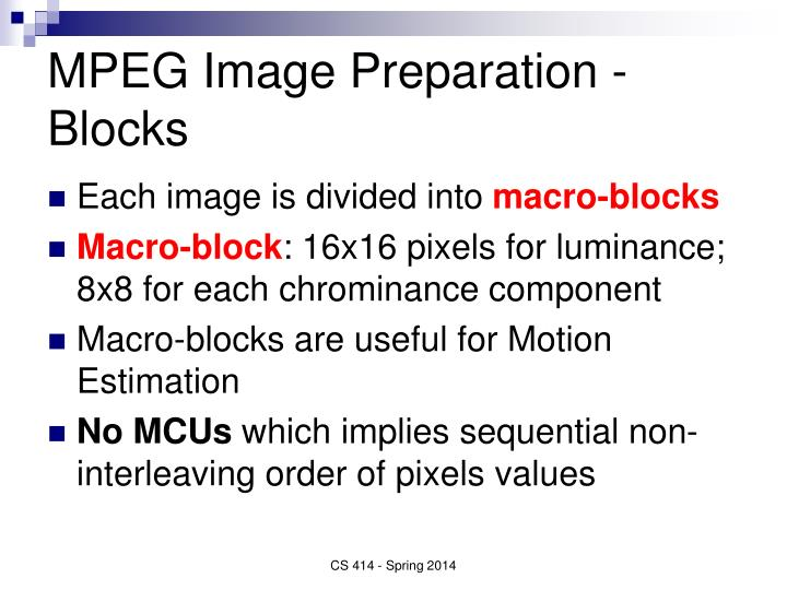 MPEG Image Preparation - Blocks