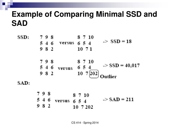Example of Comparing Minimal SSD and