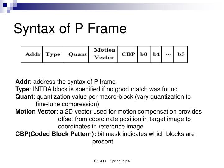 Syntax of P Frame