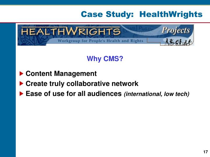 Case Study:  HealthWrights