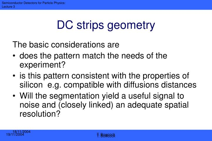 DC strips geometry