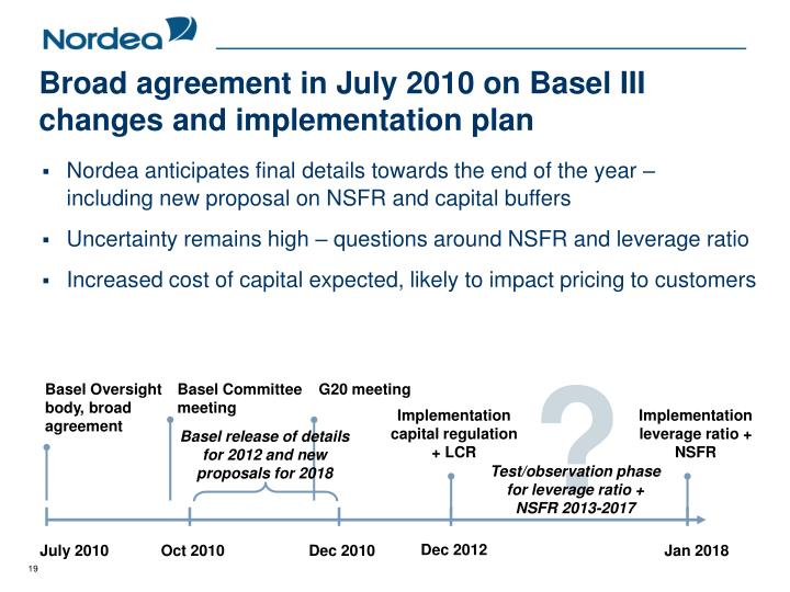 Broad agreement in July 2010 on Basel III