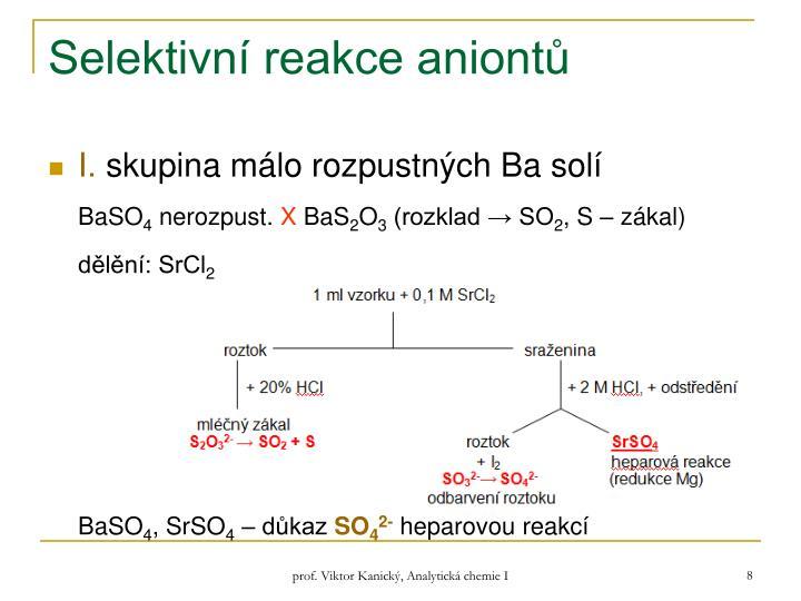 Selektivní reakce aniontů