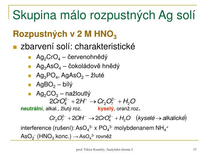 Skupina málo rozpustných Ag solí