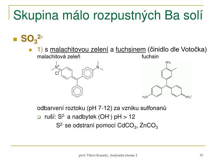 Skupina málo rozpustných Ba solí