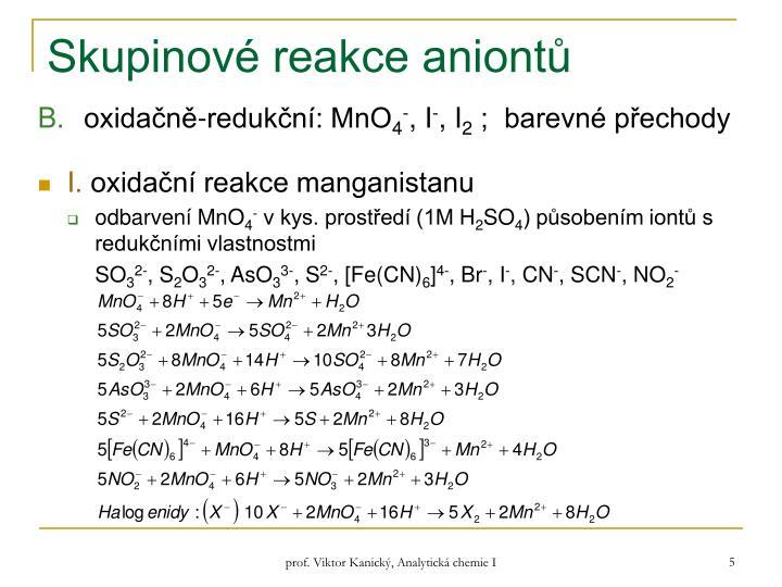Skupinové reakce aniontů
