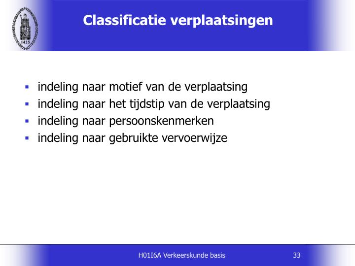 Classificatie verplaatsingen