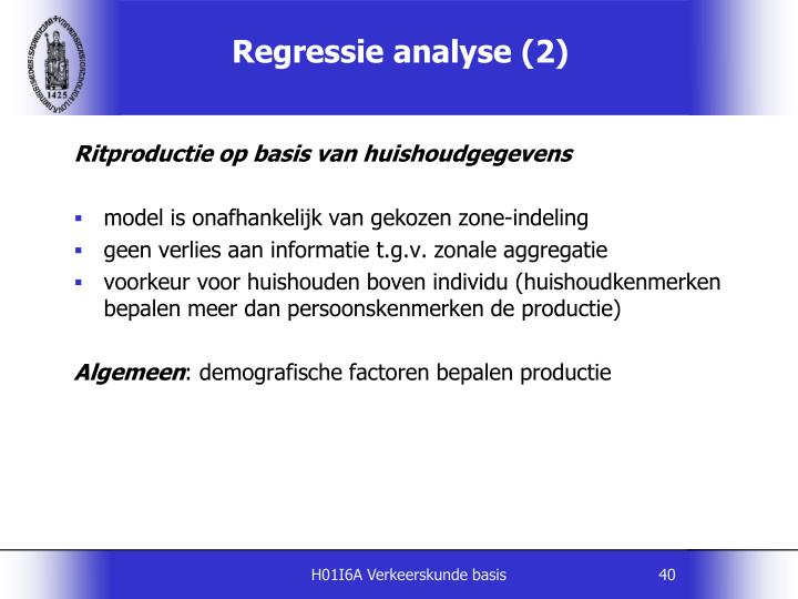 Regressie analyse (2)