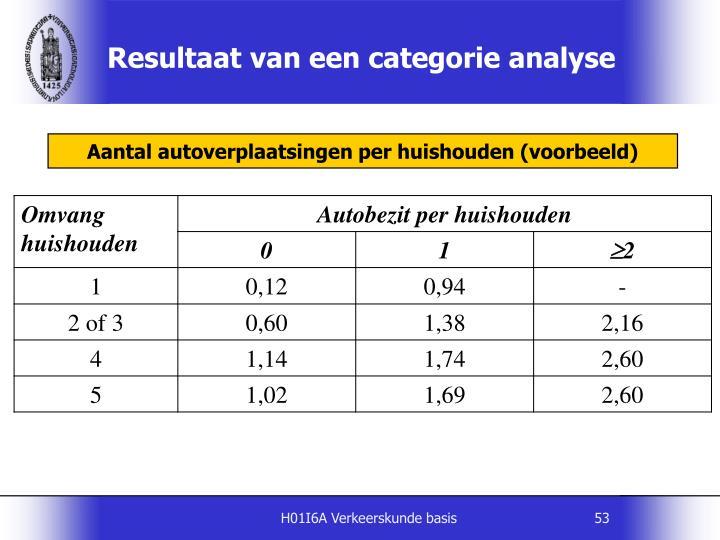 Resultaat van een categorie analyse