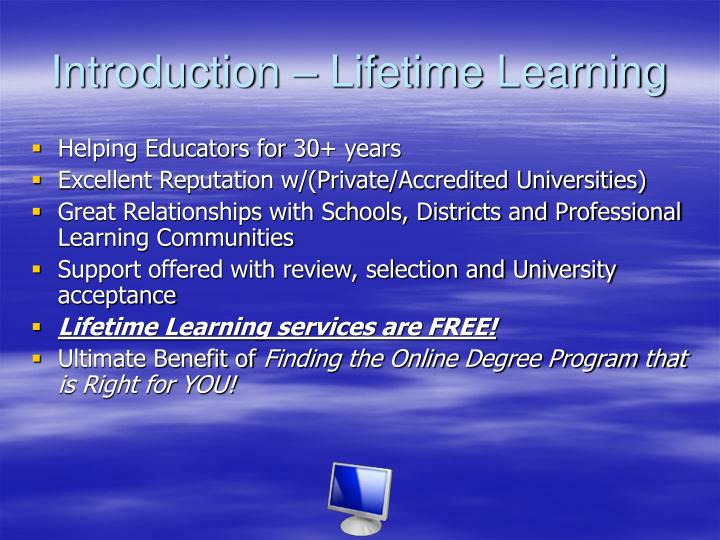 Introduction – Lifetime Learning