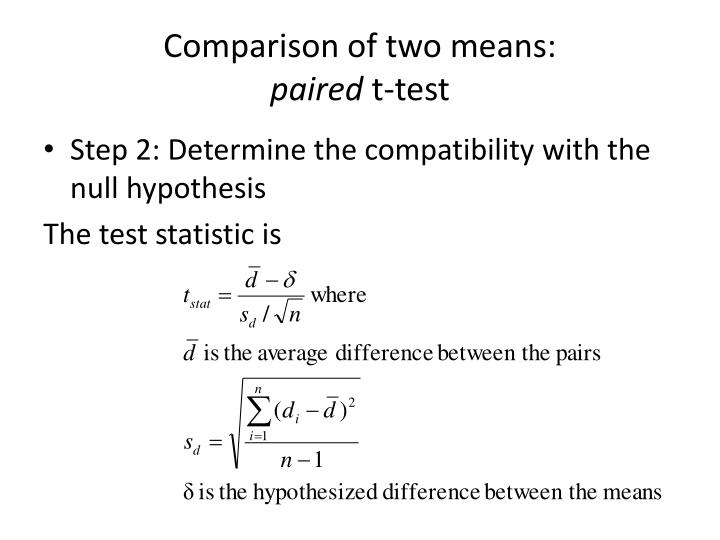 Comparison of two means: