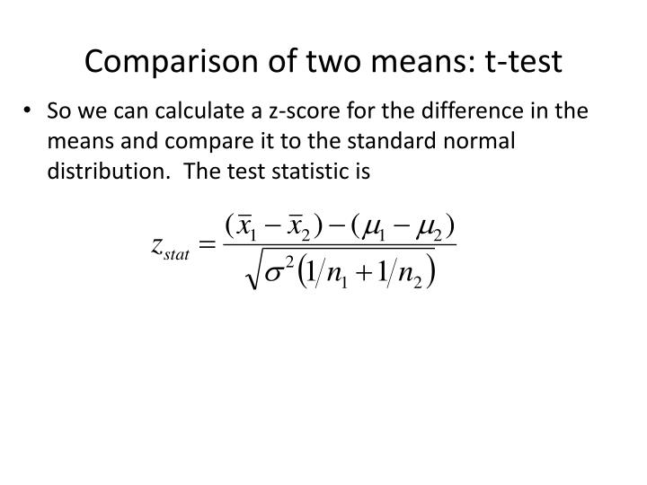 Comparison of two means: t-test