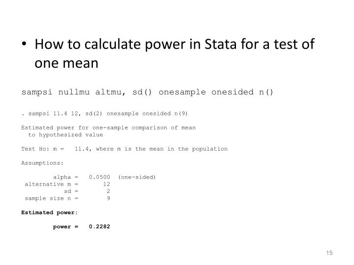 How to calculate power in Stata for a test of one mean