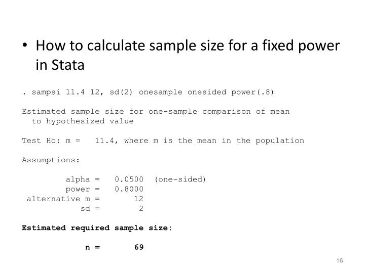 How to calculate sample size for a fixed power in Stata
