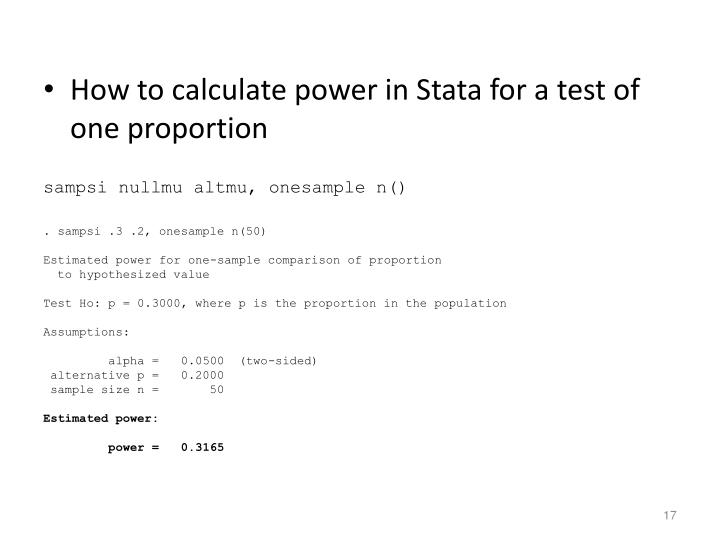 How to calculate power in Stata for a test of one proportion