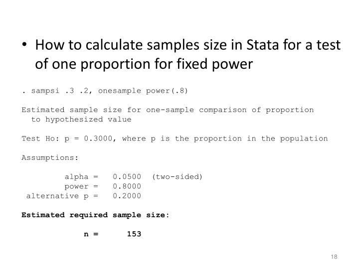 How to calculate samples size in Stata for a test of one proportion for fixed power