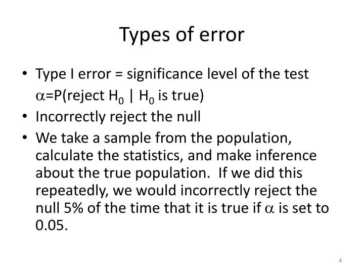 Types of error