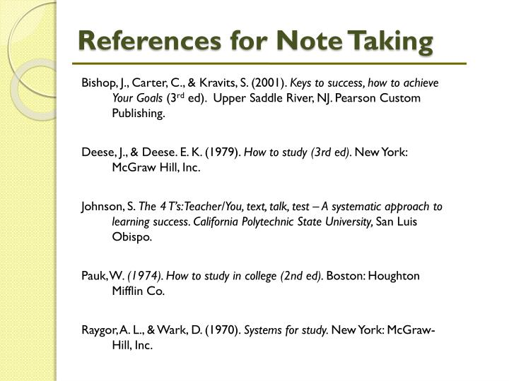 References for Note Taking