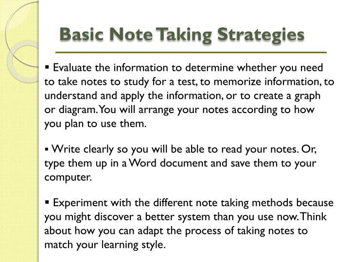 Basic Note Taking Strategies