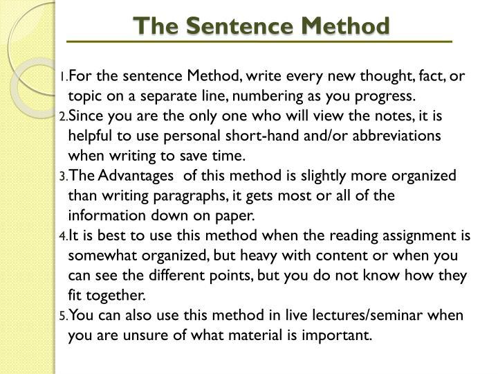 The Sentence Method
