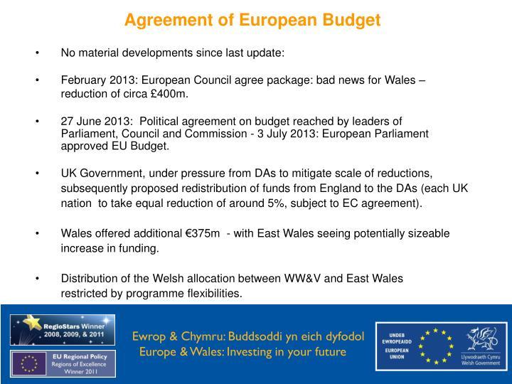 Agreement of European Budget