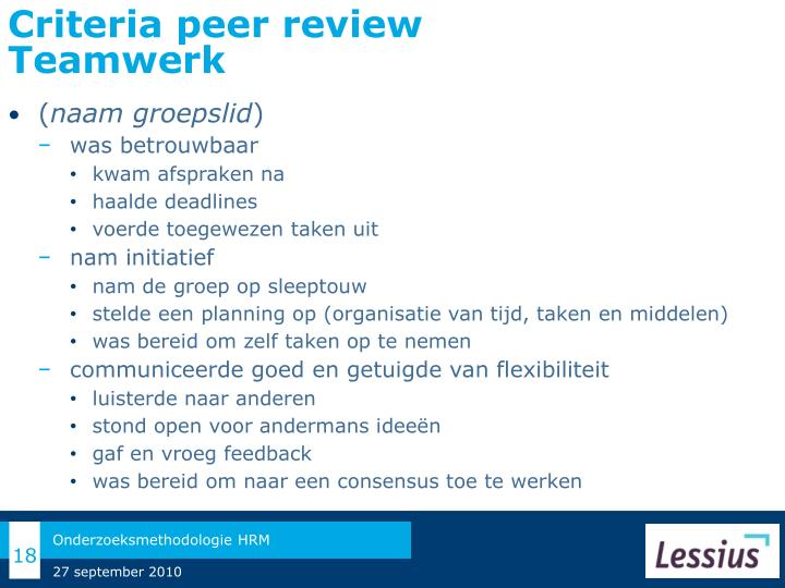 Criteria peer review