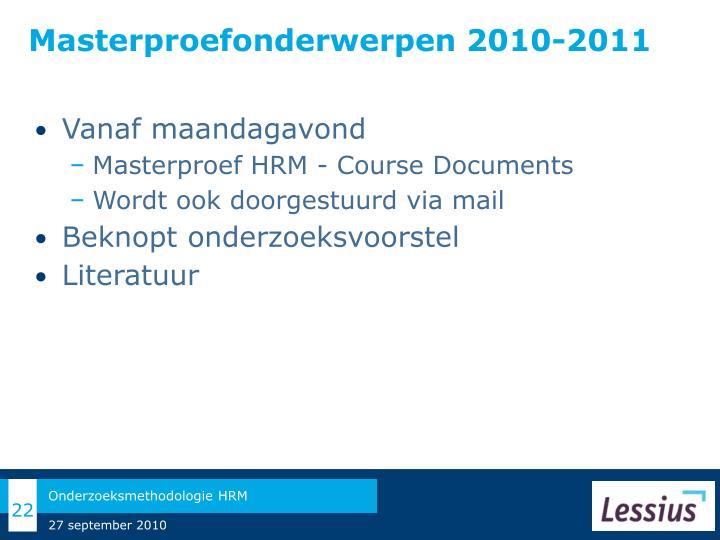 Masterproefonderwerpen 2010-2011