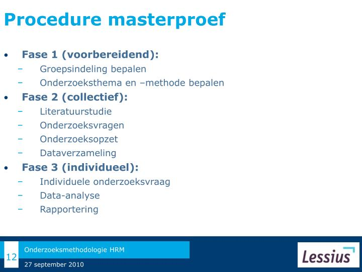 Procedure masterproef