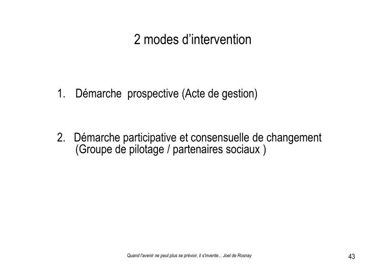 2 modes d'intervention