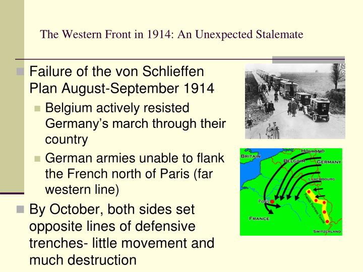 the failure of the schlieffen plan stalemate essay Present a recognisable essay structure, but the question is only partially  addressed level 1  1 how significant was the failure of the schlieffen plan to  the course of the first world war  resulting stalemate, trench warfare and war  on two.