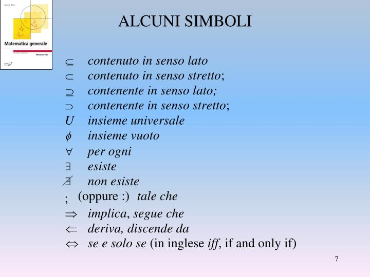 ALCUNI SIMBOLI