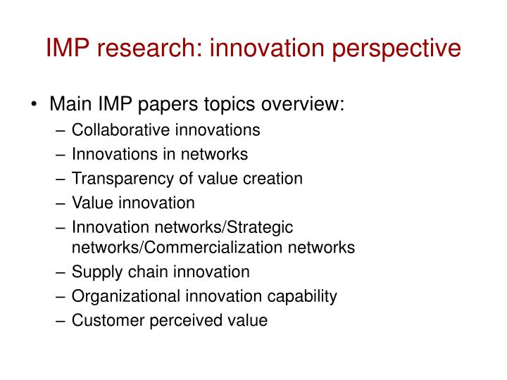 IMP research: innovation perspective