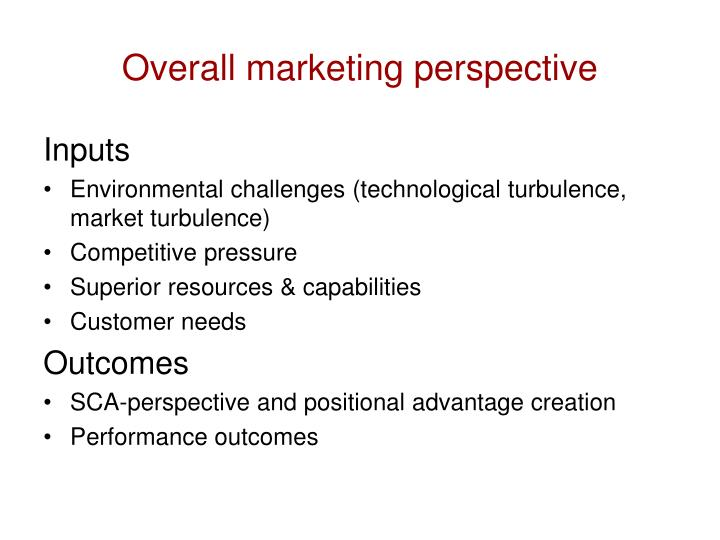 Overall marketing perspective