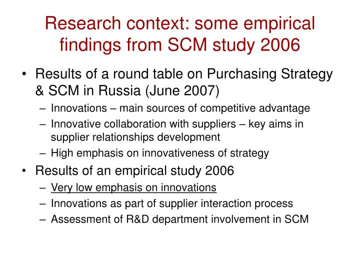 Research context: some empirical findings from SCM study 2006