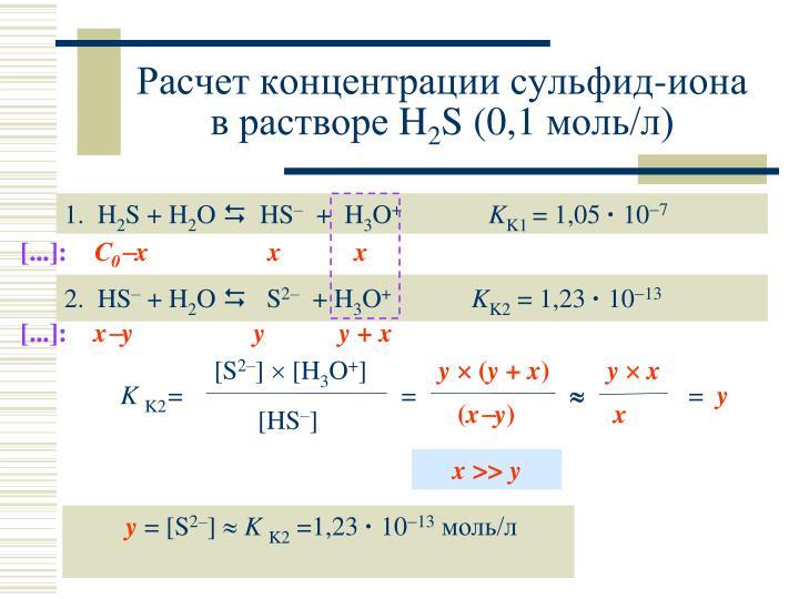 Расчет концентрации сульфид-иона в растворе