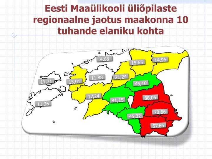 Eesti Maaülikooli üliõpilaste regionaalne jaotus maakonna 10 tuhande elaniku kohta