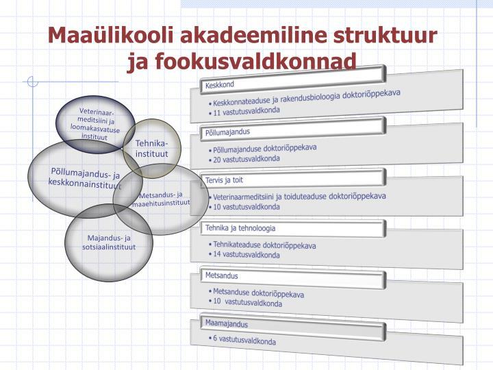 Maaülikooli akadeemiline struktuur ja fookusvaldkonnad
