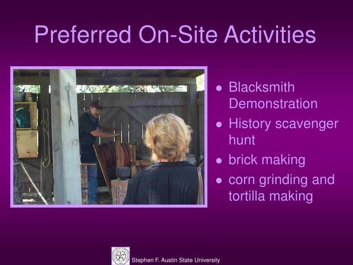 Preferred On-Site Activities
