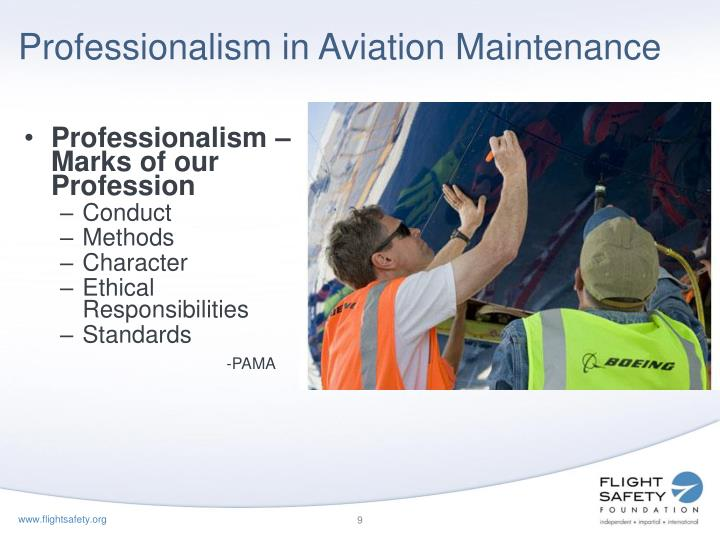 Professionalism in Aviation Maintenance