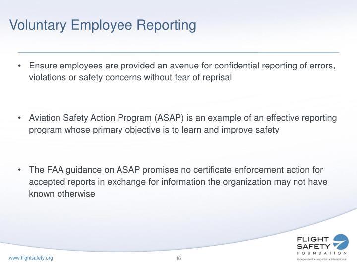Voluntary Employee Reporting