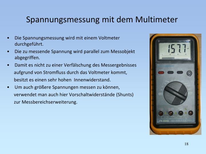 Spannungsmessung mit dem Multimeter