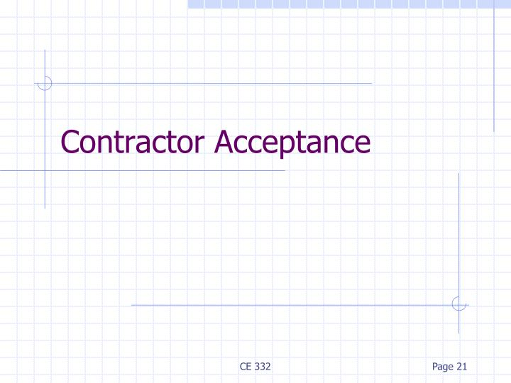 Contractor Acceptance