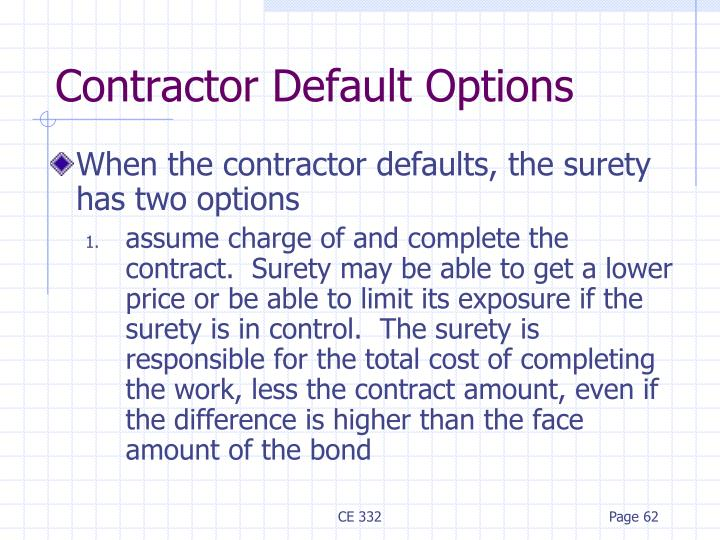 When the contractor defaults, the surety has two options
