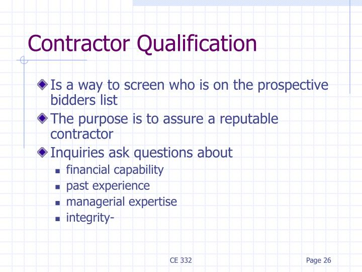Contractor Qualification