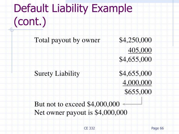 Default Liability Example (cont.)