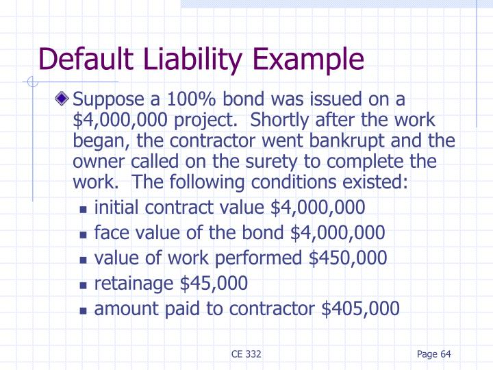 Default Liability Example