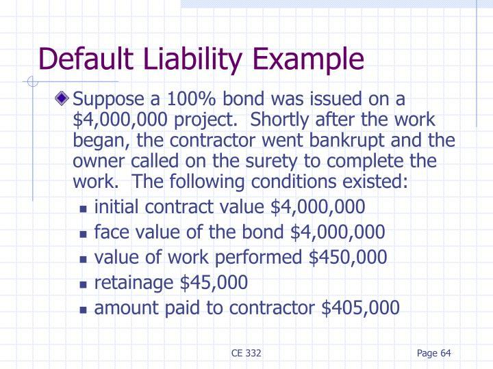 Default Liability Example