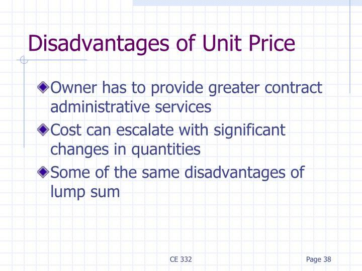 Disadvantages of Unit Price