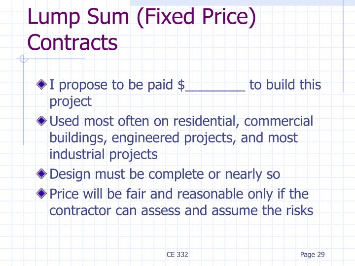 Lump Sum (Fixed Price) Contracts