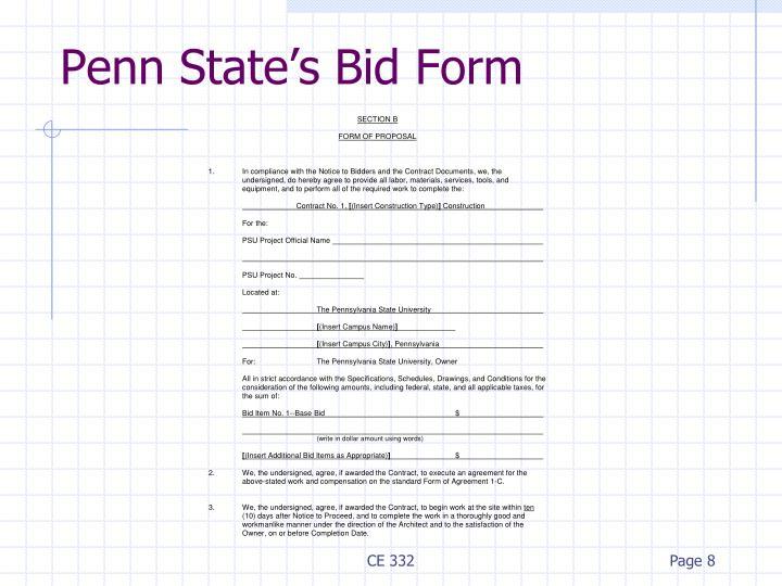 Penn State's Bid Form